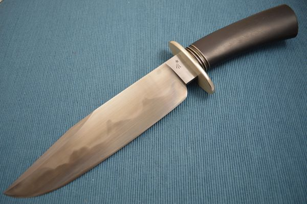 Jim Crowell, M.S. Large Bowie Knife, Flamed Hamon (SOLD)