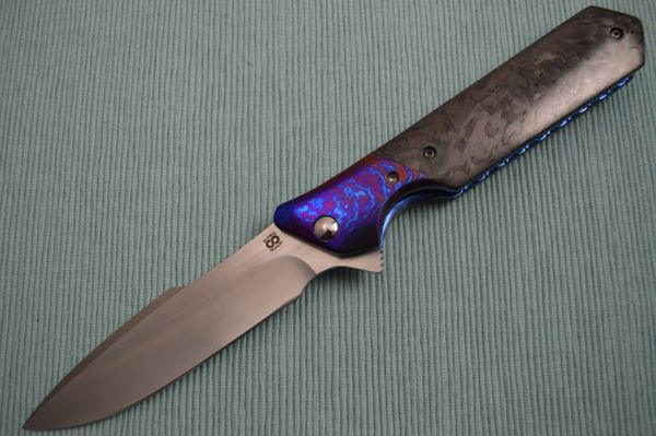 Olamic Cutlery Rainmaker, Marbled Carbon Fire Scales, Harpoon Blade, Ti-Damascus Bolster / Clip (SOLD)