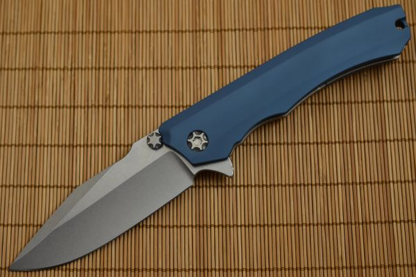 Heretic Knives, Marfione WRAITH, Stonewashed CPM-154, Blue Handle (SOLD)