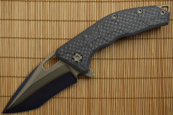 Heretic Knives, Marfione MARTYR Recurve, Carbon Fiber, Blue Double Clad Steel, Bronze Hardware (SOLD)