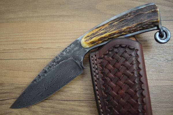 David Lisch, M.S. Meteor Shower Damascus Hunter, Sambar Stag, Rowe Leather Sheath (SOLD)