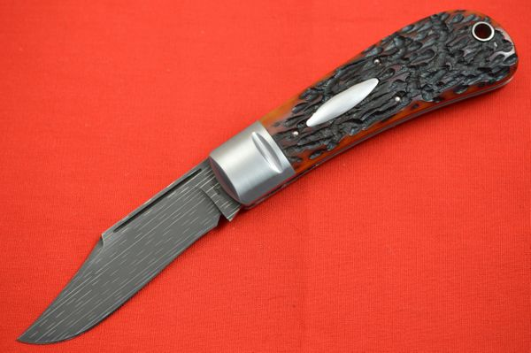 Bill Ruple LANNY'S CLIP, Amber Jigged Bone, Chad Nichols Starfire Damascus (SOLD)