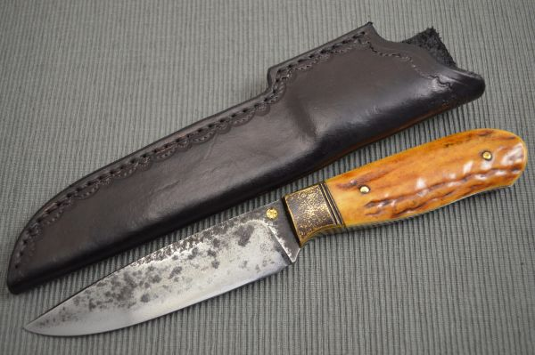 Don Fogg, M.S. Brut de Forge Drop Point Hunter, Stag Handle (SOLD)