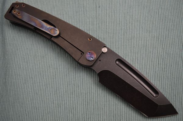 Medford Knife and Tool MARAUDER, Tumbled PVD Tanto Blade, Flamed Clip and Hardware (SOLD)