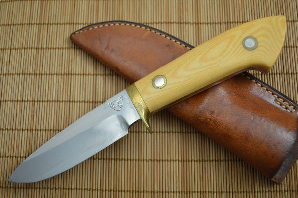 Red Watson Drop Point Hunting Knife, Westinghouse Micarta, Leather Sheath