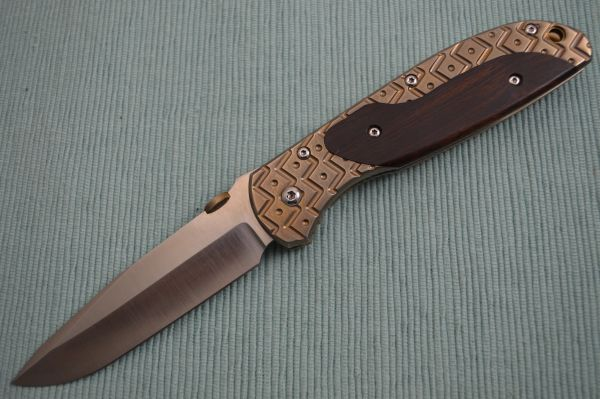 ORIGINAL Rick Hinderer Custom FIRETAC, Bronze Anodized, Cocobolo Inlay