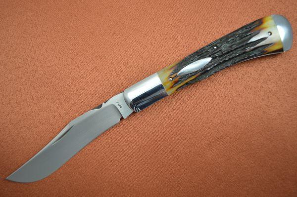Bill Ruple Stag Trapper, Slip Joint Folding Knife, Bolstered, File-Work (SOLD)