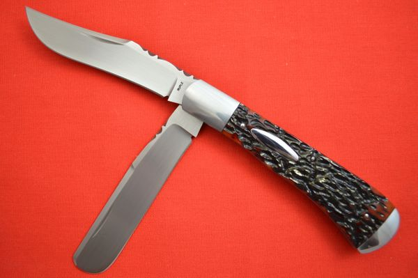 Bill Ruple Two-Blade Trapper, Jigged Bone, Double Bolster, File-Worked Blade Spine and Liners (SOLD)