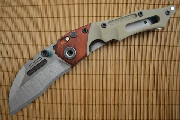 Dwaine Carrillo No. 4 Button-Lock Cobra M4, African Padauk, Desert Tan G10 (SOLD)