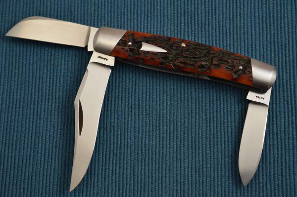 Tom Ploppert 3-Blade Stockman Slip Joint Folding Knife, Jigged Bone (SOLD)