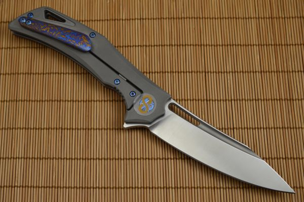 Olamic Cutlery SWISH Titanium-Damascus Inlay and Pocket Clip, Sculpted Backbar and Pivots (SOLD)