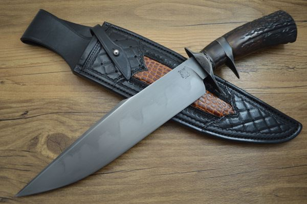 Kyle Gahagan, J.S. Sub-Hilt Sambar Stag Bowie with Hamon, Paul Long Sheath (SOLD)