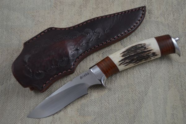 Jim Siska Drop Point Recurve Hunter, Stag and Stacked Leather Handle (SOLD)