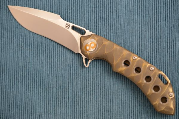 Olamic Cutlery Wayfarer 247 Harpoon Blade, Sculpted Bronze Seabed Handle (SOLD)