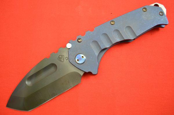 Medford Knife and Tool Praetorian T, Blued Titanium Handle, Vulcanized D2 Blade (SOLD)