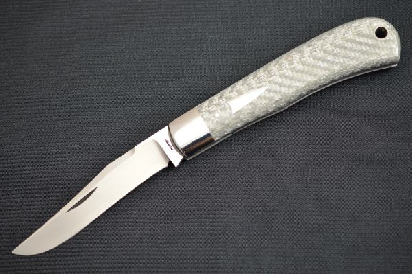 Tom Ploppert TRAPPER, Large Slip Joint Folding Knife, Silver Twill Scales (SOLD)