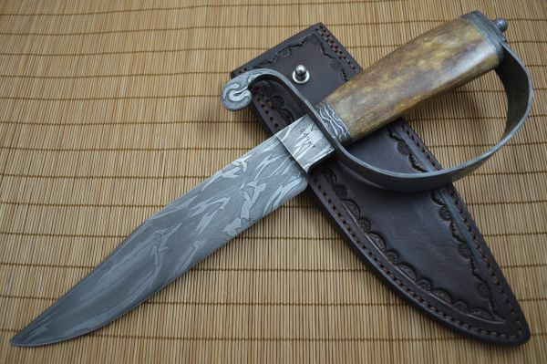 David Anders M.S. D-Guard Damascus Bowie, Fossilized Handle, Rowe Leather Sheath (SOLD)
