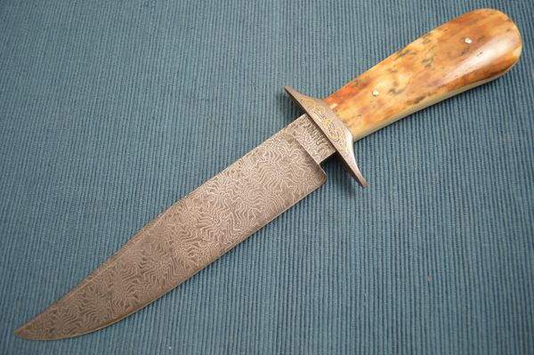 Steve Dunn M.S. Mosaic Damascus, Fossilized Bowie, 24K Gold Scroll Work (SOLD)