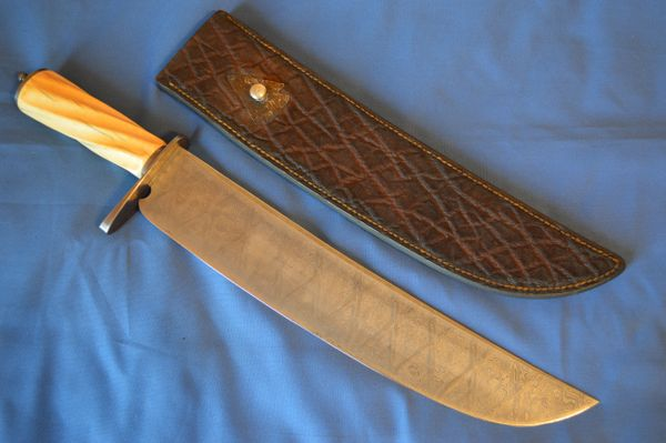 Charles F. Ochs III, M.S. LARGE Pattern Welded Damascus Bowie, Exotic Sheath (SOLD)