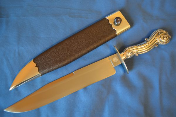 "James L. Jackson, M.S. Sheffield Type Bowie Knife, Silver ""Tiffany"" Handle and Sheath"