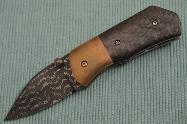 Chuck Gedraitis MONGOOSE Liner Lock Folding Knife, Razor Wire Damascus, CF, Timascus Pocket Clip
