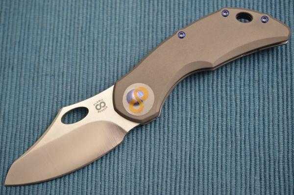 Olamic Cutlery BUSKER, Semper M390 Blade, Dark Blasted Titanium Frame (SOLD)