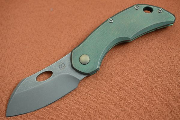 Olamic Cutlery BUSKER, Largo M390 Stonewashed Blade, Kinetic Rainforest Titanium Frame (SOLD)