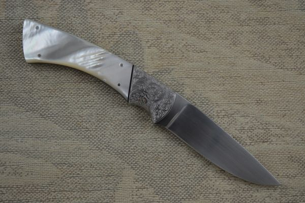 Earl Black Pearl Handled Drop Point Fixed Blade Hunter (SOLD)