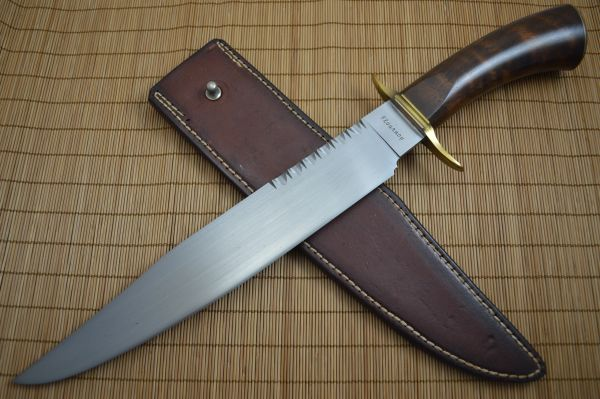 Joe Flournoy Mastersmith Large Carbon Bowie, Rowe Leather Sheath (SOLD)