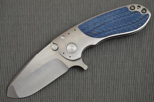 Direware S-96 Flipper, Titanium Frame, Blue Silver Twill Inlays, Satin S110V Blade