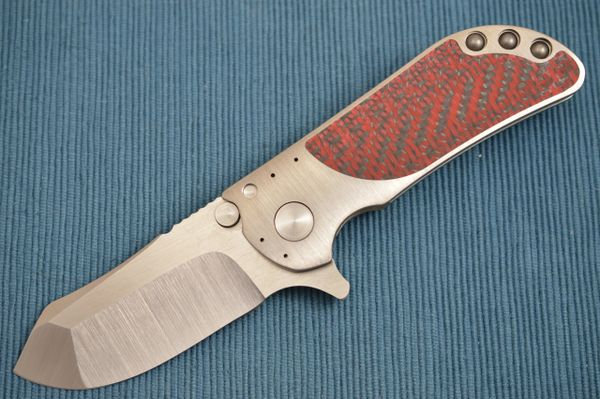 Direware M8 Flipper, Titanium Frame, Red / Black Carbon Fiber Inlays, S110V Blade (SOLD)