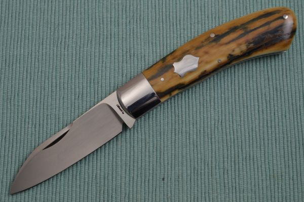 Tom Ploppert DINO, Slip-Joint Folding Knife, Fossilized Scales (SOLD)