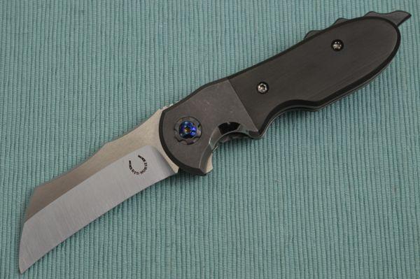 Red Horse Knife Works One-Off Custom Hawkbill BLACK DEATH CHOPPER Flipper