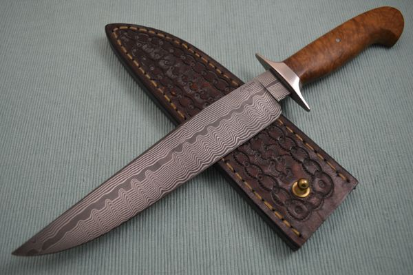 "Craig Camerer, J.S. ""Slim Pickens"" Damascus Bowie, Leather Sheath"