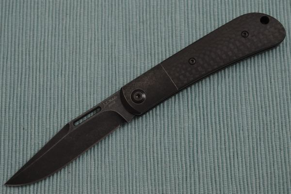 "J.E. Made ""Blacked-Out"" Slip-Joint Folder, Carbon Fiber Scales, Titanium Bolster, S35VN (SOLD OUT)"