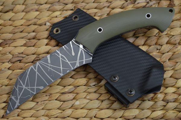 "Rick Barrett ""Skulltap"" Hawkbill Fixed Blade Knife, OD Green, Kydex Sheath Tek-Lok (SOLD)"
