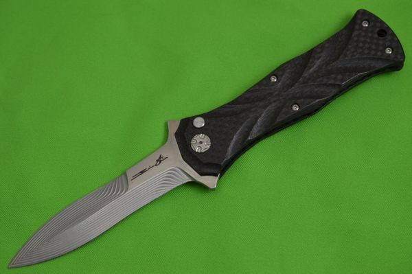 "Brian Tighe ""Twist Tighe"" Bronze Lightning Strike Carbon Fiber, Button Lock Flipper"