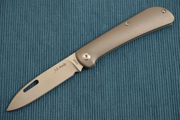 "J.E. Made ""Zulu"" Slip-Joint Folding Knife, Smooth Titanium Handle, No Clip (SOLD OUT)"