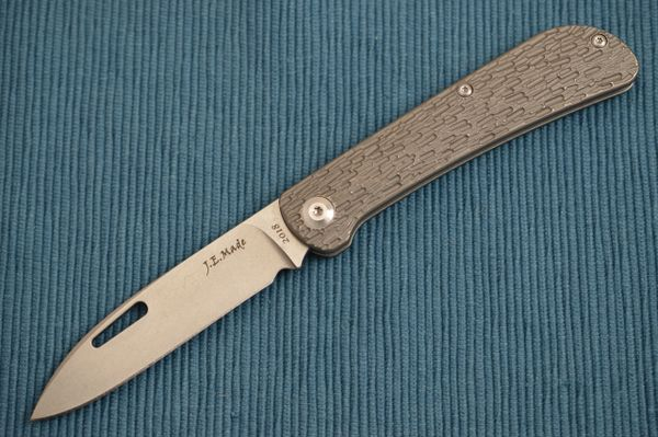 "J.E. Made ""Zulu"" Slip-Joint Folding Knife, Jigged Titanium Handle, No Clip (SOLD OUT)"
