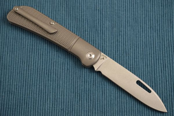 "J.E. Made ""Zulu"" Slip-Joint Folding Knife, Checkered Titanium Handle, Faux Bolster, Pocket Clip (SOLD OUT)"
