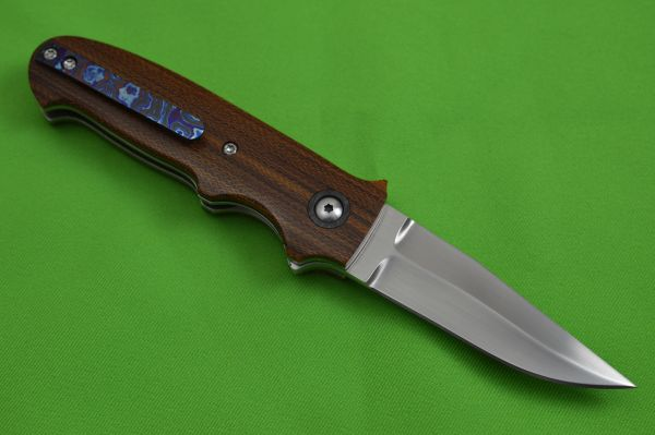 "Chad Nell Custom ""New York Flipper"", Cross-Cut Natural Brown Canvas Micarta, Kraken Black Timascus Clip"