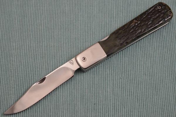 Norm Levine Lock-Back Folding Knife, Green Jigged Bone Scales