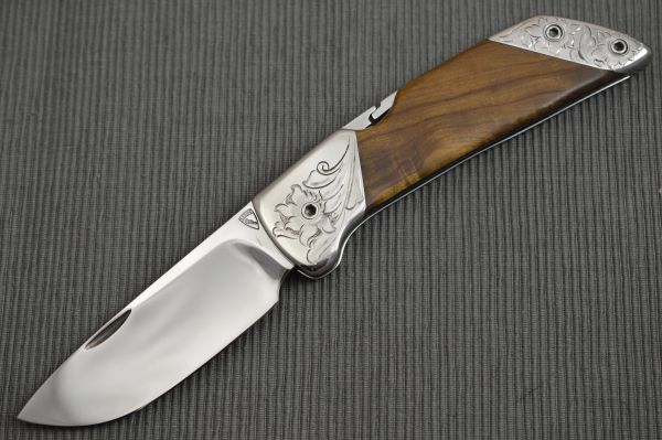 Norm Levine Engraved Lock-Back Folding Knife, Double Bolsters