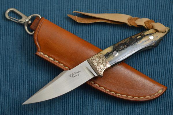 """W.D. Pease Fossilized """"Swinger"""", Mokume Bolster, Dangler Leather Sheath (SOLD)"""