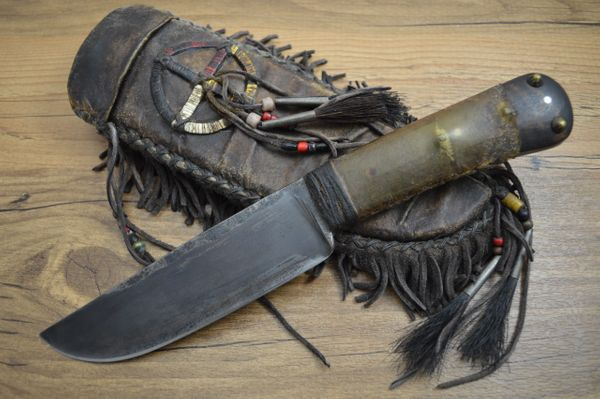Daniel Winkler, M.S. Native American Belt Knife, Karen Shook Rawhide Sheath (SOLD)