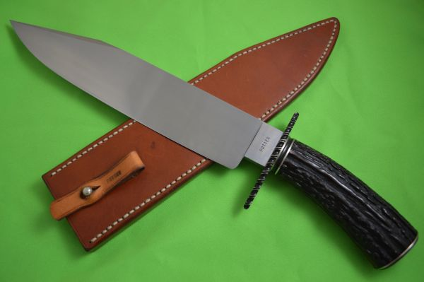 Timothy Potier, M.S. Large Stag Bowie, Leather Sheath (SOLD)