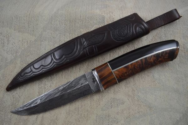 Roger Bergh Damascus Fixed Blade Hunting Knife And Sheath (SOLD)