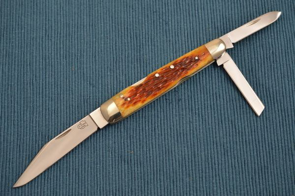Robert Enders Three-Blade Lock-Back Whittler, Jigged Bone Slip-Joint Folding Knife