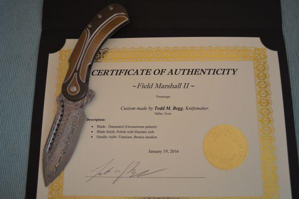 Todd Begg Full Custom Damasteel Field Marshall II PROTOTYPE (SOLD)