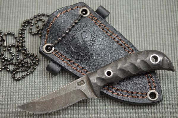 Olamic Cutlery Custom Persian Damascus Neck Knife + Leather Sheath (SOLD)